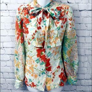 Vintage Vera Neuman Floral Tie Neck Blouse